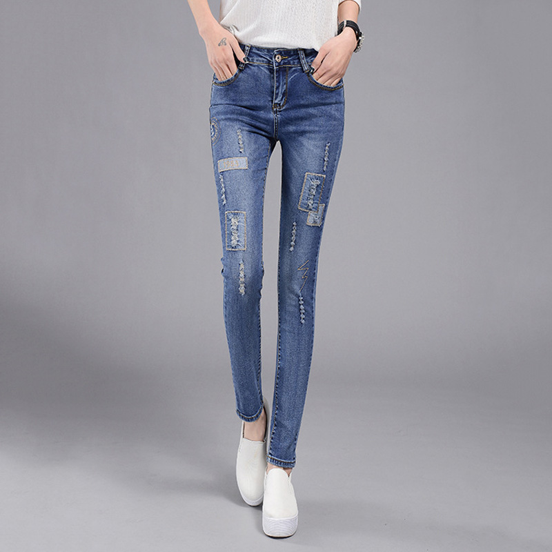 Autumn High Waist Jeans woman Female Distressed Slim Patchwork Denim Pants Pencil Ripped vintage Skinny Jeans For Women