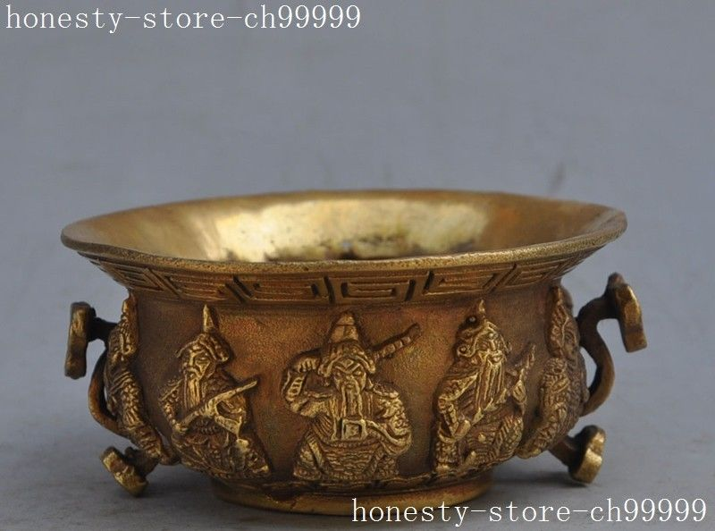 christmas Marked Chinese brass copper guardian god ruyi pot bowl bottle cup lucky statue halloween