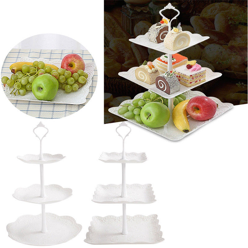 Image 2 - 2019 Cupcake Stand Square Round Wedding Birthday Cake Display Tower 3 Tier-in Storage Trays from Home & Garden