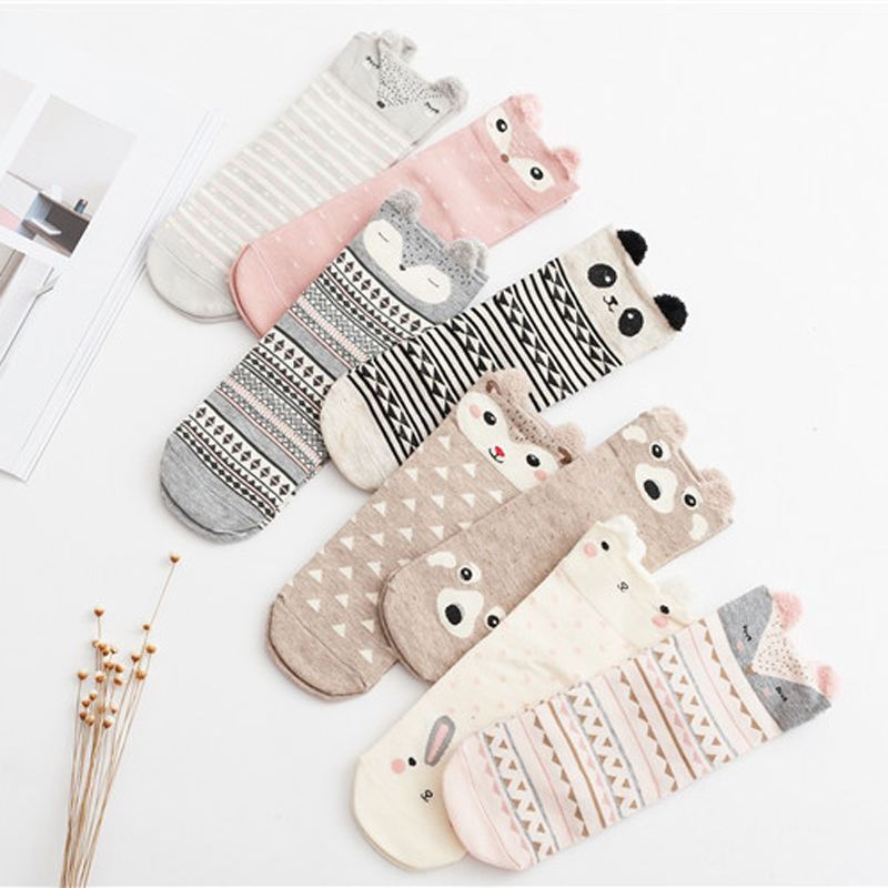 Cute Animal Women Cotton Socks Female