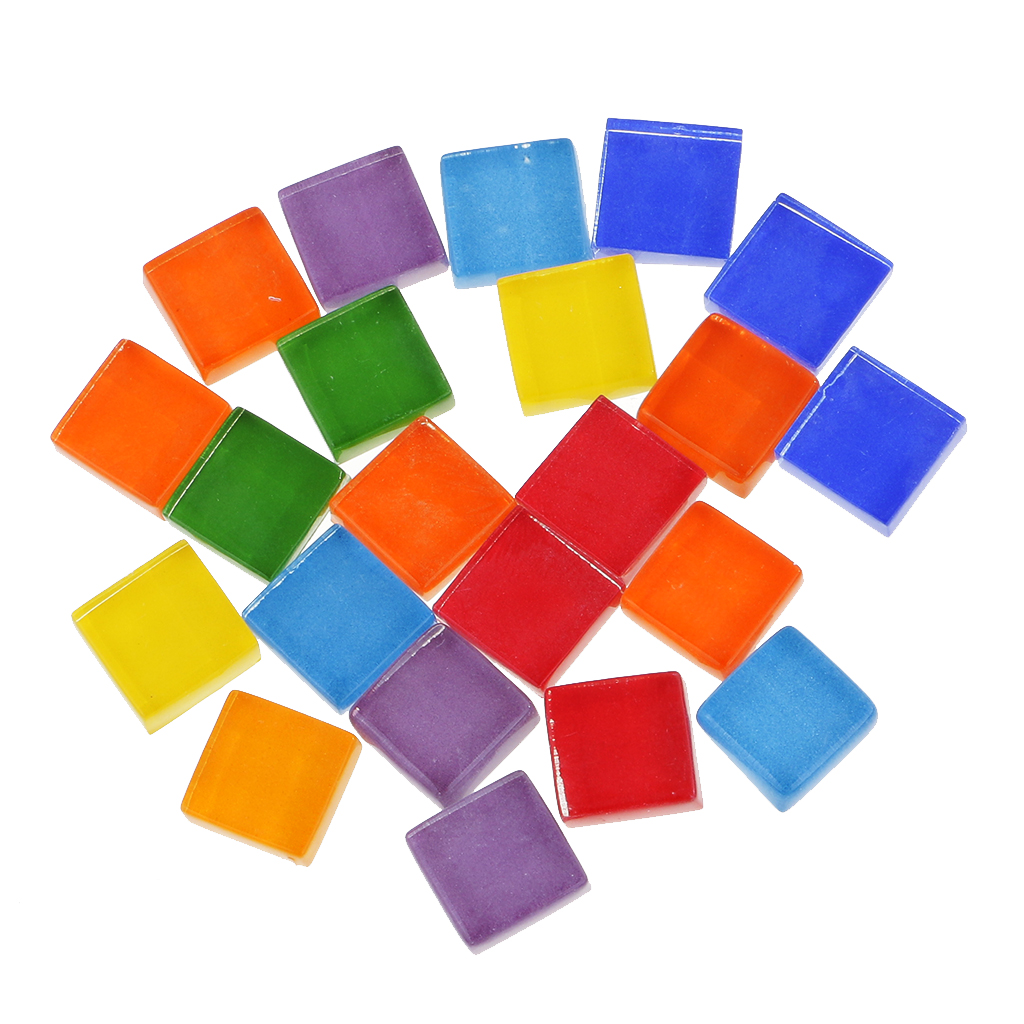 390x Assorted Square Glass Pieces Tiles for DIY Mosaic Making Craft 10x10mm