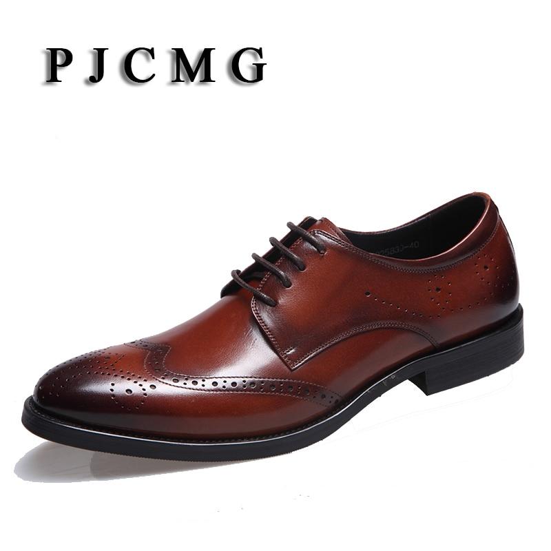 PJCMG الرجال جودة عالية جديد ذكر أسود / أحمر أزياء الأعمال الرسمي الدانتيل متابعة أشار تو جلد طبيعي منحوت الحجم 37-44
