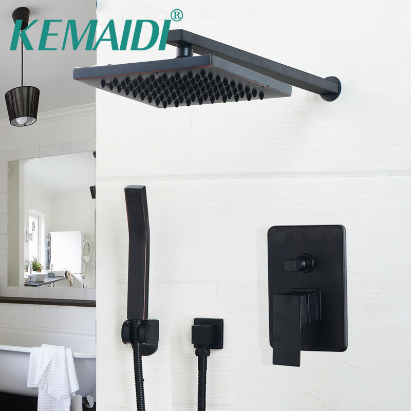 KEMAIDI 8/10/12 inch Oil Rubbed Bronze Head & Hand Shower Sets Bathroom Rainfall shower faucet Luxury Black Wall Mounted Sets black oil rubbed bronze 8 inch round rainfall rain bathroom shower head new wsh003