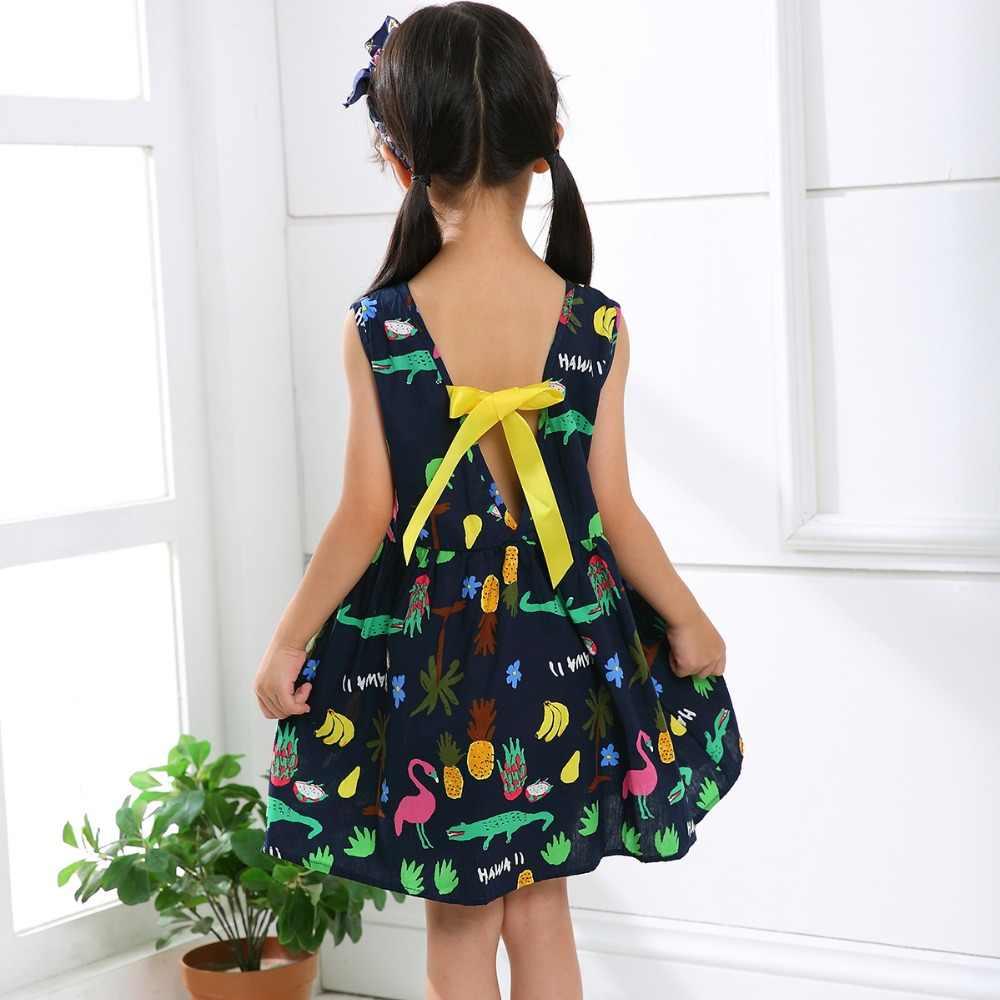 Модное летнее хлопковое платье принцессы с бантом в виде вишни платье-майка с цветочным рисунком для девочек