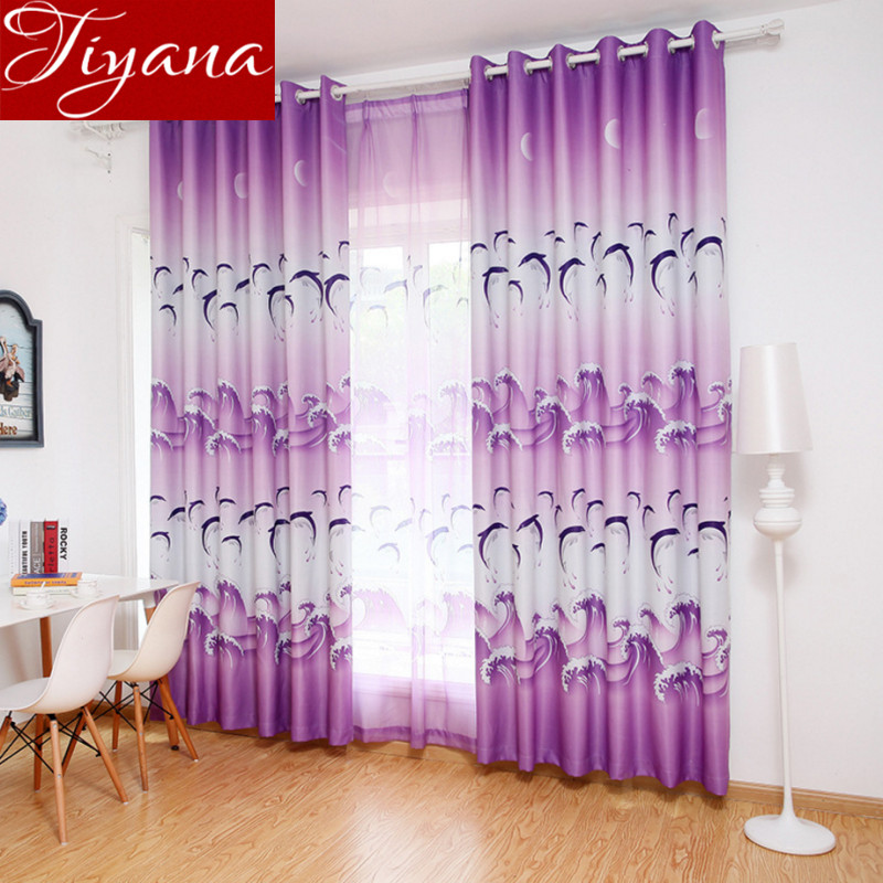 Dolphin Curtains Purple Print Sheer Voile Kids Boys Room Window Bedroom  Blue Curtains Tulle Drapes Fabrics Rideaux X075 #20 In Curtains From Home U0026  Garden ...