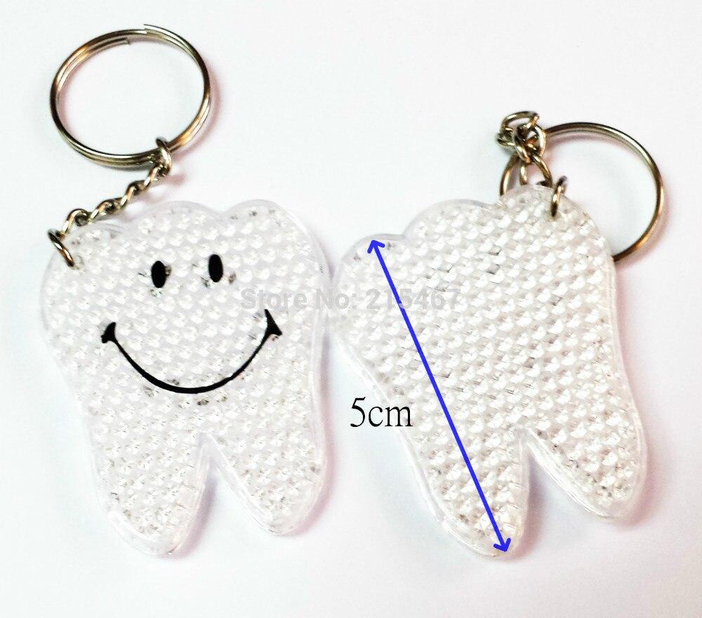 4 Pc 5cm Plastic Teeth Reflector Reflective Road Safety Key Chain Kids Boy School Bag Party Favors Novelty Birthday Dental Gift