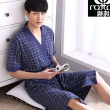 Spring Autumn Bathrobe Men Plaid Cotton Sleep Robe Short Sleeve Male Comfortable Casual Lounge Plus Size Home Clothing Sleepwear