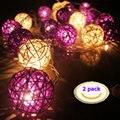 LED Luces de la Secuencia de luz Decorativa 7.38FT Linternas con Pilas 16 LED 2.25 M de Color Rosa (2 Pack) Púrpura + blanco