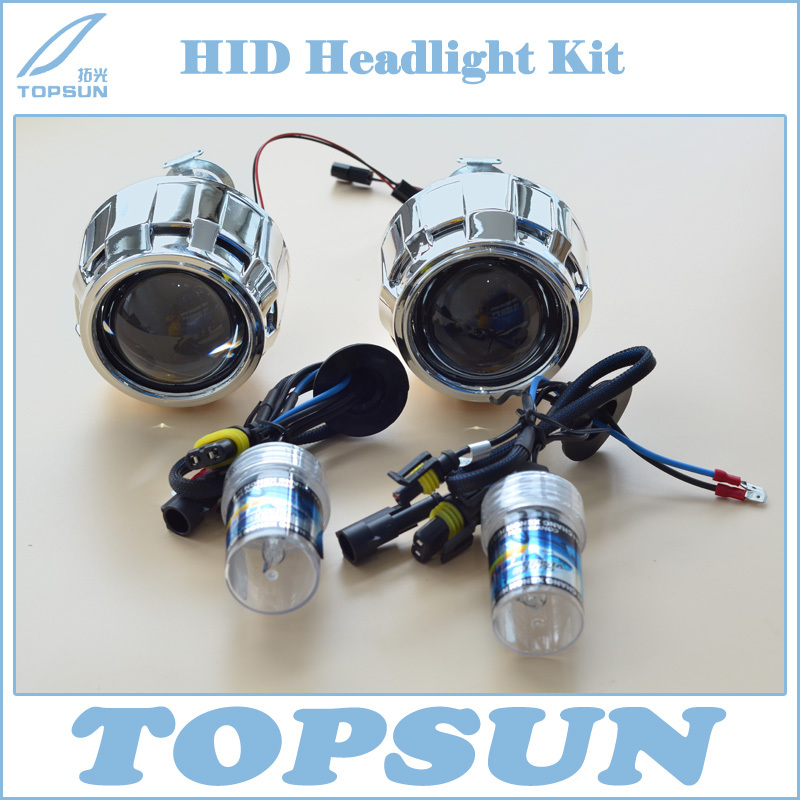 2014 Car Styling Retrofit Kit including 35W H1 HID Bi-Xenon Headlamp Bulb 3000K and Projector Lens With Mini Gatling Gun Shroud