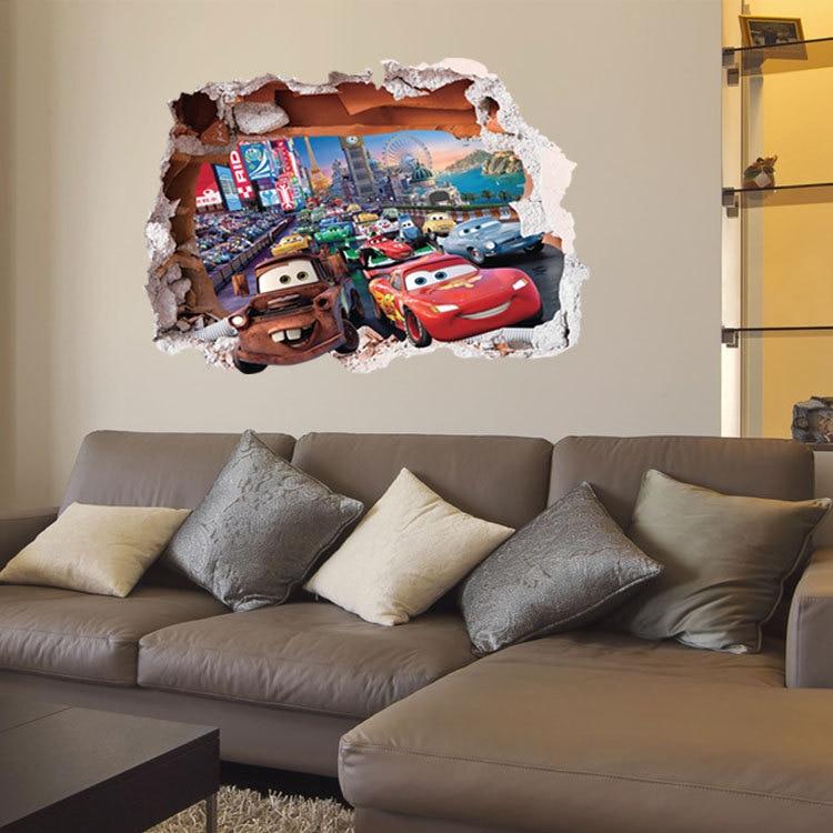 Wall Decals Stickers 3d Pixar Disney Cars Broken Wall Stickers