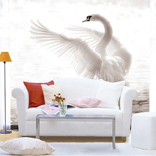 Wholesale Chinese Style Mural White Swan Goose 3D Wall Mural for Living Room TV Sofa Background 3d Photo Murals Fresco Sticker