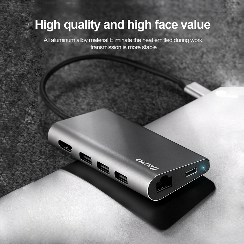llano USB HUB USB C to HDMI RJ45 PD Thunderbolt 3 Adapter for MacBook Samsung Galaxy S9/S8 Huawei P20 Pro Type-C USB 3.0 HUB usb type c pd wall charger fast charging power adapter for new macbook pro dell 9350 acer r13 samsung asus hp