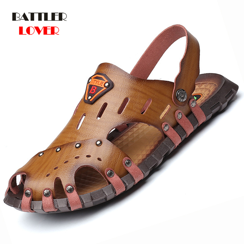 2019 Cow Leather Sandals Men Shoes Genuine Leather Men Sandals Shoes Mens Sandals Summer Men