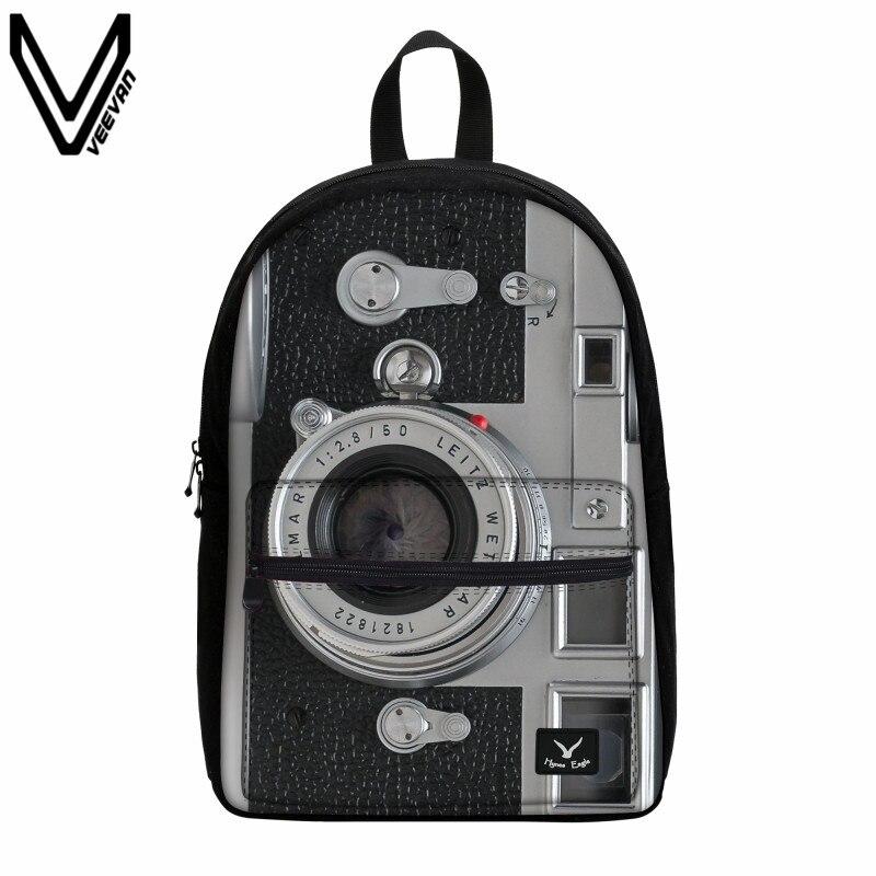 VEEVANV 2017 Vintage 3D Camera Prints Bags Women Backpack Canvas Backpack For Teenage Girls Boys Big School Bags Travel Mochila