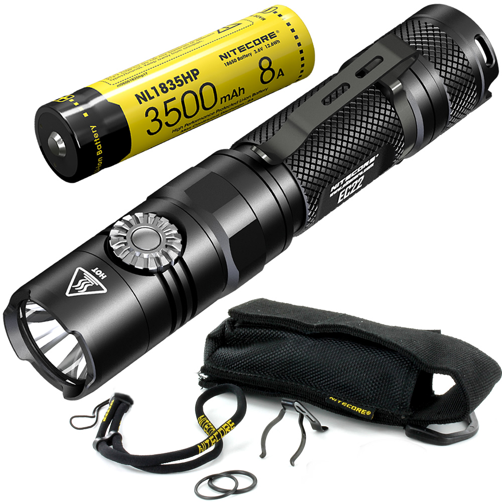 NITECORE EC22 with 18650 Rechargeable Battery Infinitely Variable Brightness LED Flashlight Waterproof Outdoor Camp Hiking Torch