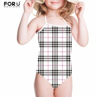 FORUDESIGNS Children Swimwear One Piece Swimsuit For Girls Geometry 3D Printing Kids Baby Bathing Suit Summer