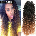 7A Ombre Brazlian Curly Hair Brazilian Virgin Hair Afro Kinky Curly 3 Bundles Kinky Curly Virgin Hair Ombre Human Hair Weave OA1