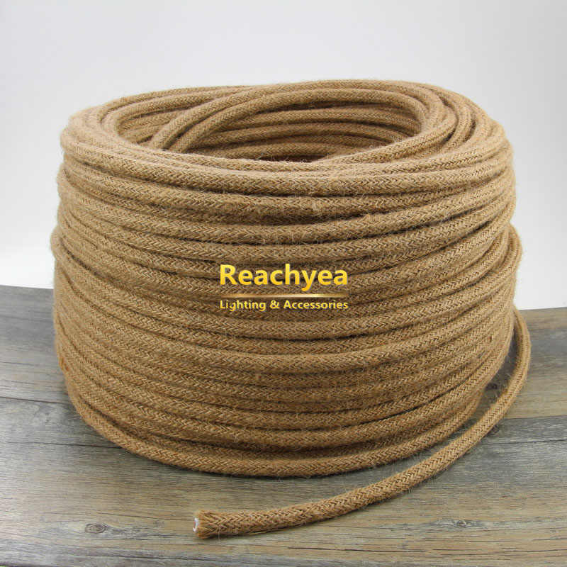 3m 5m 10m 2 Core or 3 Core Vintage Hemp Rope Light Cord Manila Rope Braided Flexible Cable Electrical Wire For Retro Lights