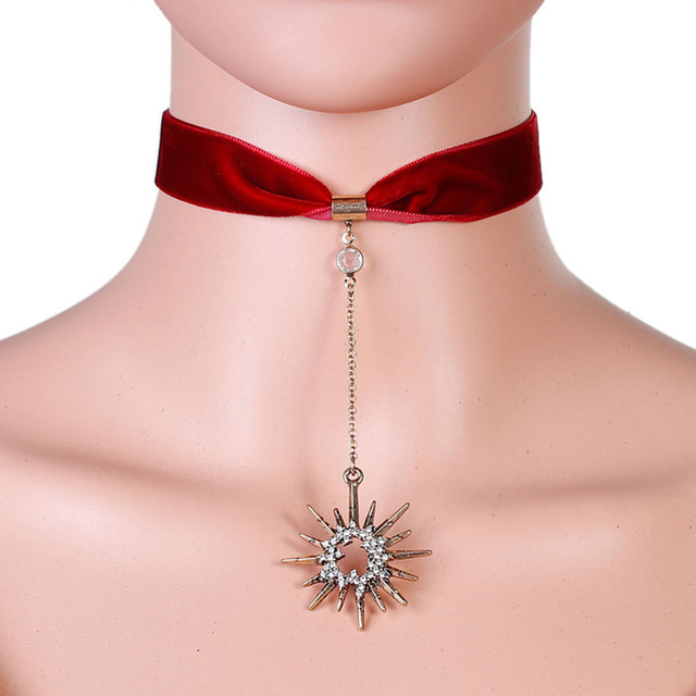 Doreenbeads Trendy Crystal Stars Pendant Red Ribbon Velvet Choker Necklace Women Wine Christmas Snowflake Clear Rhinestone