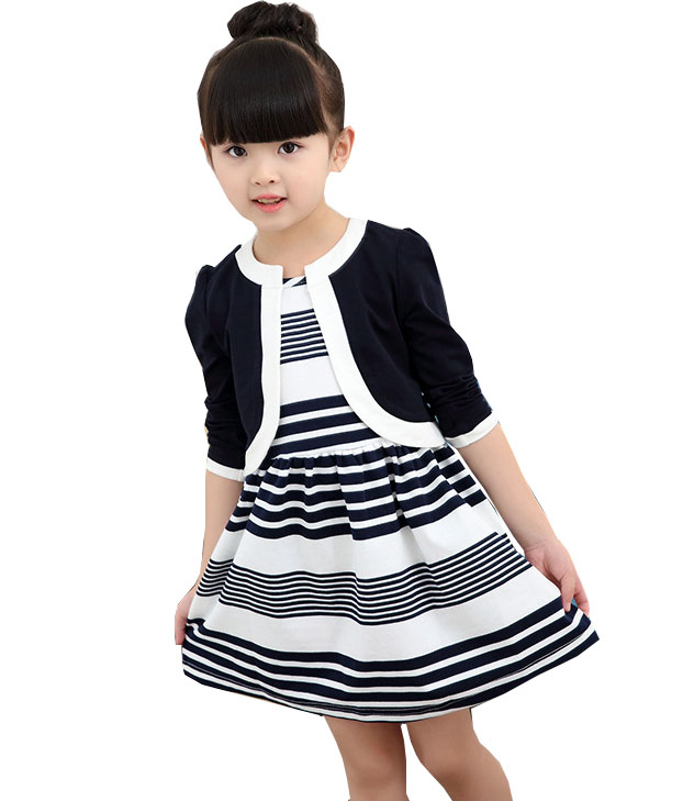 где купить Children 's new spring and autumn cotton stripes round neck suit thin section long - sleeved jacket girl dress baby girls dress по лучшей цене