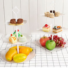 Square Round 3 Tier Cake Stand Tray Decor Cupcake Wedding Birthday Party Afternoon Tea