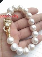 Free Shipping Quality Fashion Picture Huge AAA 11 13mm Natural South Sea White Pearl Bracelet 7