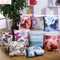 YLW Vintage Flowers Cotton Linen Cushion Cover Decorative Pillowcase Chair Seat Square 45x45cm Pillow Cover Home Living
