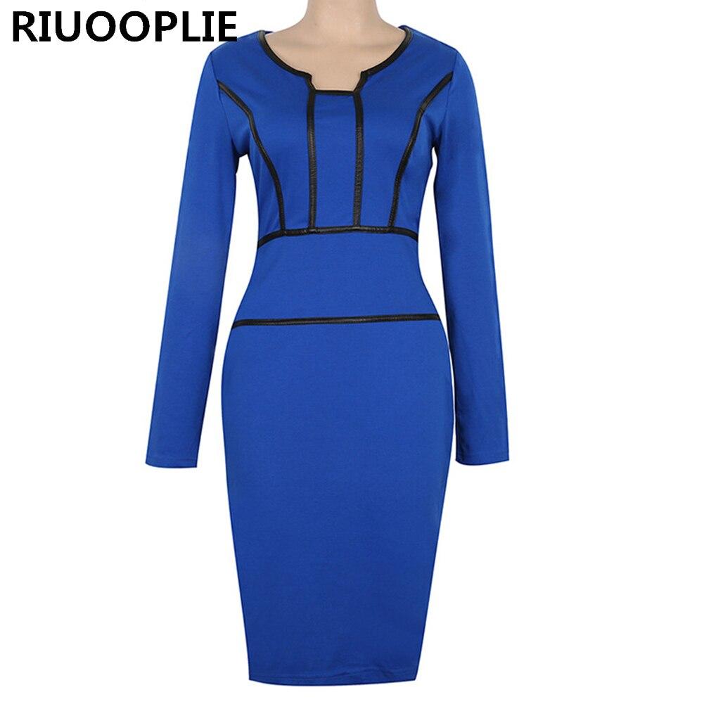 RIUOOPLIE Женская одежда с длинным рукавом Винтаж тонкий Бизнес Повседневное Оболочка Bodycon платье карандаша ...