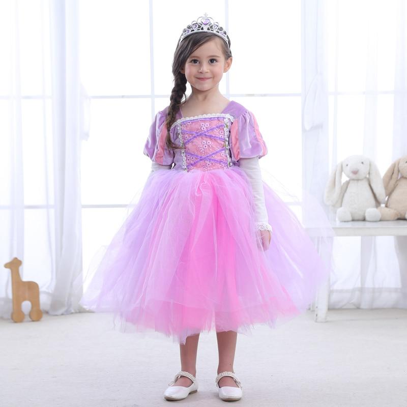 2018 Children Renaissance Rapunzel Princess Fluffy Dress Costume For Girl Halloween Birthday Party  Cosplay Size M-XXXL