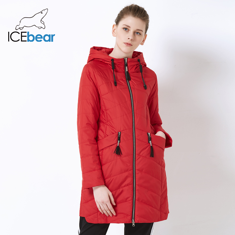 ICEbear 2019 new fall ladies jacket Women s jacket with waist design Fashion casual hooded women