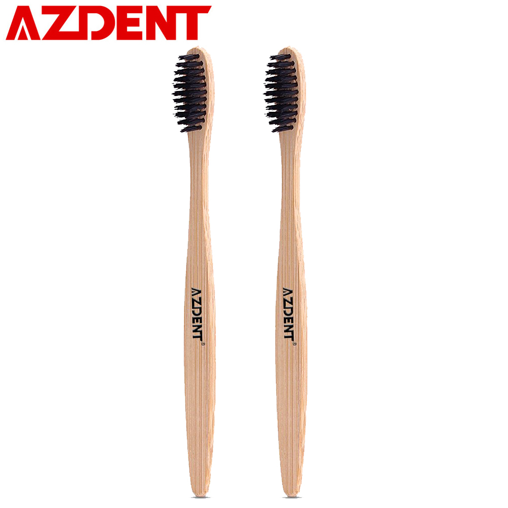 AZDENT 2pcs/lot Eco friendly Wooden Toothbrush Novelty Bamboo Toothbrush Tongue Scraper Cleaning Oral Care Ultra Soft Bristle image