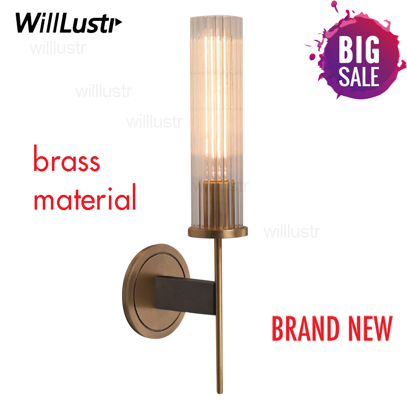 Image 5 - Modern Brass Wall Lamp Sconce Ribbed Long Glass Vintage Retro Copper Hotel Restaurant Loft Bar Bedroom Bedside Vanity Wall Light-in LED Indoor Wall Lamps from Lights & Lighting