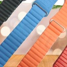 Genuine Leather Loop for apple watch band 44mm 40mm strap iwatch 4 3 2 1 band 42mm 38mm wrist belt bracelet Magnetic Adjustable цены