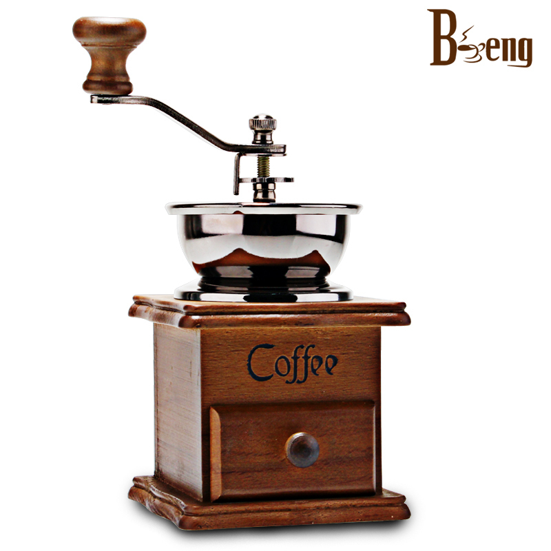 BM-132A beng coffee bean grinder household manual hand retro shipping timber mill - Good luck too store