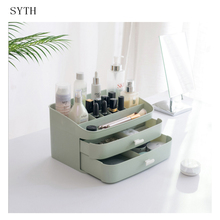 SYTH Large Plastic Desktop Cosmetic Jewelry Box Makeup Organizer Storage Boxes with 2 Drawers Bathroom Make up Display Case
