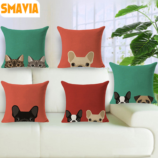 Schöne Katzehund Muster Design Kissenbezug Cotton Leinen Stoff