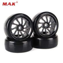 4pcs/set 1/10 RC Car parts  4Pcs Rubber Flat Drift Tires and Wheels Rims 12mm Hex For HSP HPI 1:10 On-Road Car mato kingtiger metal upgraded road wheels with bearings and metal cap for 1 16 henglong 3888 1 3888a 1 king tiger rc tank parts