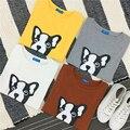 Mulheres harajuku topos 2017 cropped t shirt do estilo coreano verão mulheres novo cão dos desenhos animados camisa assentamento impressão camisa das mulheres t