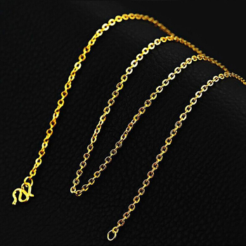 New Pure Solid 999 24K Yellow Gold Chain Women's O Link Necklace 3-3.5g 16.5inch 1