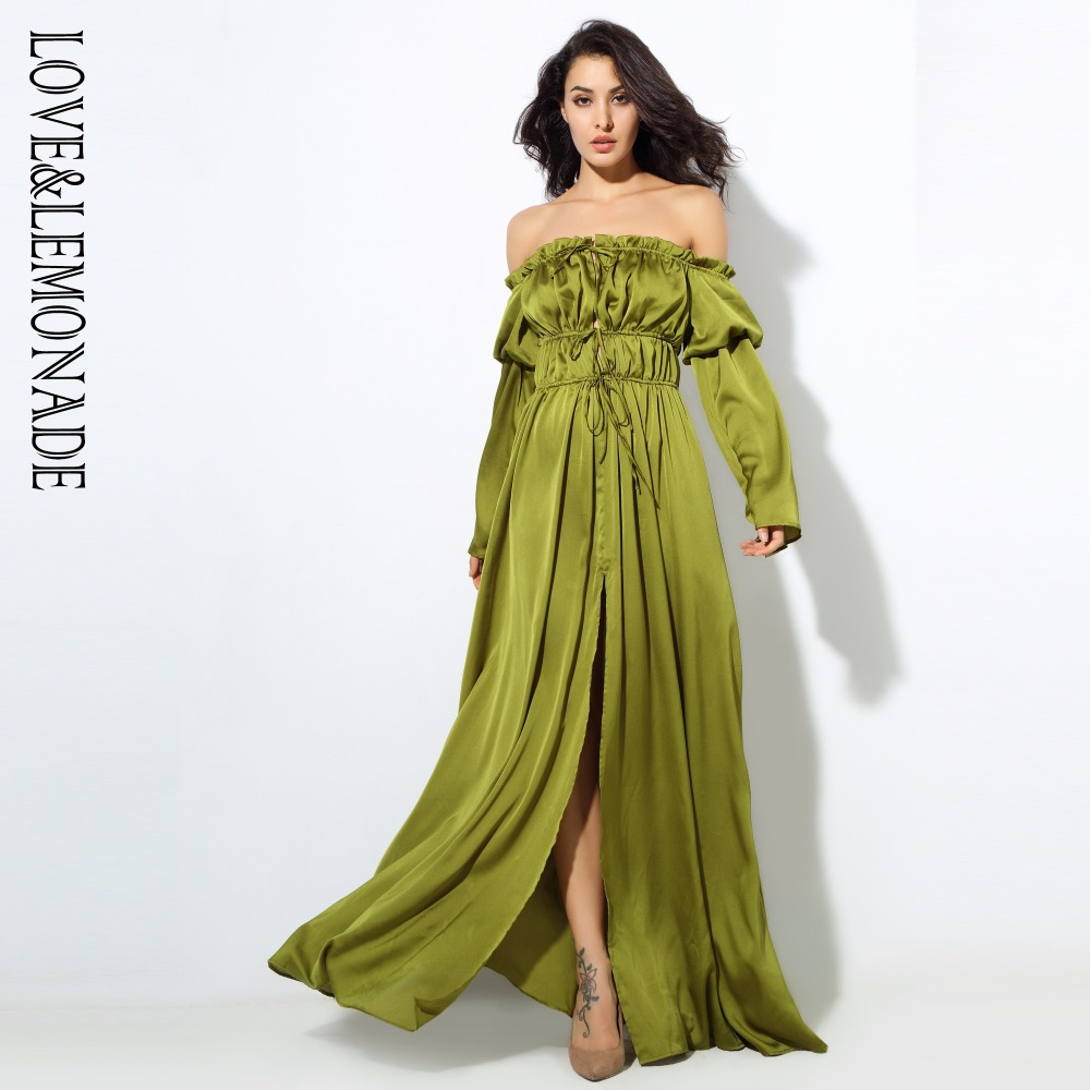Love Lemonade Shoulder Strap Long Sleeve Dress Green Nude Animal pattern LM0739