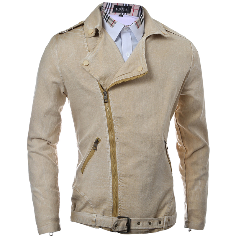 dcbc224268d386 2016 Brand Clothing Men s Jean Jacket Oblique Zipper Denim Bomber Jacket  Casual Solid Men Jackets Male Coat Slim Fit Men s Wear