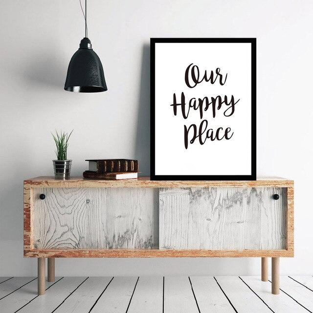 Unsere Glücklich Ort Zitate Inspirierende Buchstaben A4 Kunst Schmücken  Schwarzes Leinwand Malerei Dekorative Wohnzimmer Home Decor