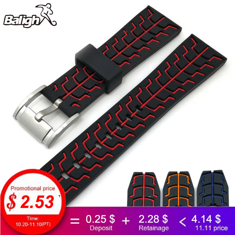 Watch Accessories 22mm Watch Band Rubber Watchband  Men'S Watch Strapon Watch 20mm Strap Clock Wheel pattern Watchbands