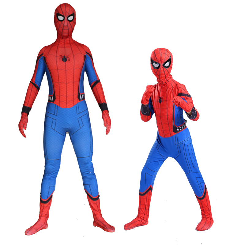 2017 New Adult Spider-Man Homecoming costume Kids Spiderman Cosplay Costumes Halloween Spiderman homecoming Clothing spider-man