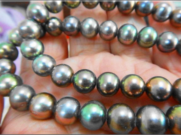 188-9MM NATURAL TAHITIAN GENUINE BLACK MULTICOLO PERFECT AAA PEARL NECKLACE 925silver