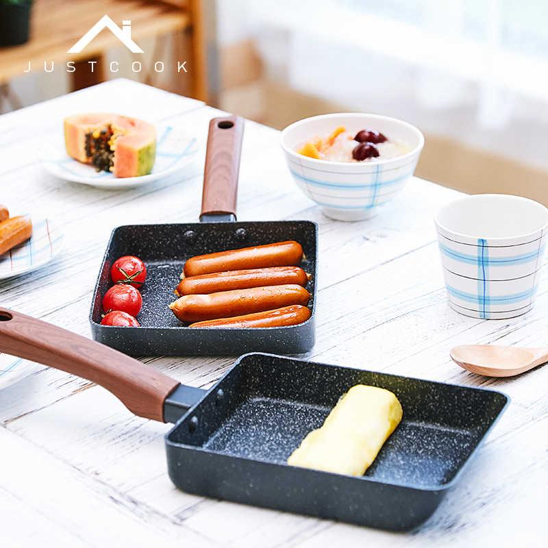 Justcook Tamagoyakiไข่กระทะไข่เจียวแพนเค้กญี่ปุ่นสไตล์Non-Stick KITCHENใช้ทั่วไปสำหรับแก๊สและหม้อหุงข้าว