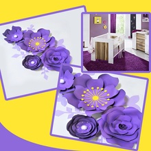 Purple Rose DIY Paper Flowers Leaves Set For Baby Girl Nursery Wall Art Kids Room Decoration Decor Large Floral