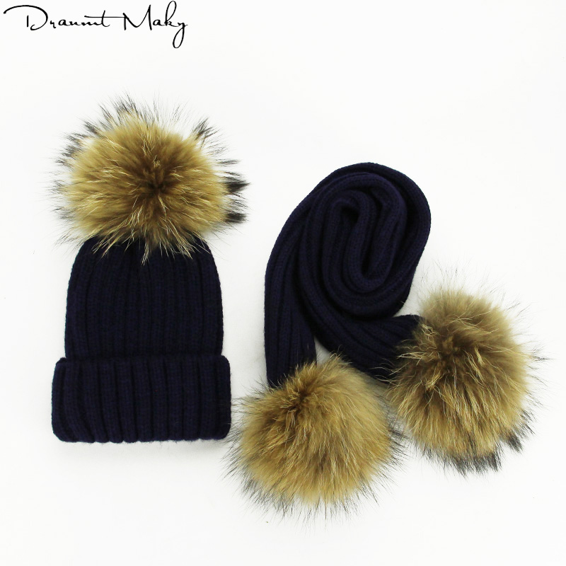 Real Fur Pompom Hat Winter Hat and Scarf Set Men   Skullies     Beanies   Women Warm Cap Elasticity Knit   Beanie   Hats Adult Fur Fashion