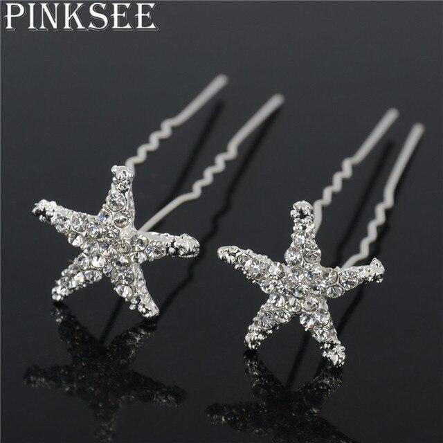 Crystal Star Hair Clips Bridal Wedding Accessories 4
