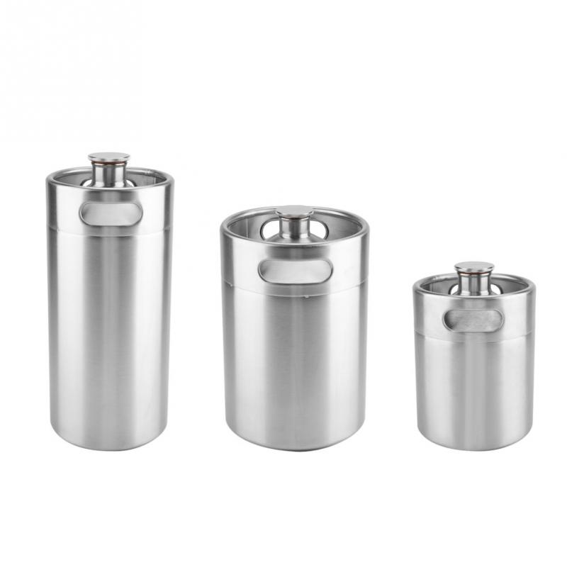 2/3.6/5L Stainless Steel Mini Beer Keg Pressurized Growler For Craft Beer Dispenser System Home Brew Beer Brewing
